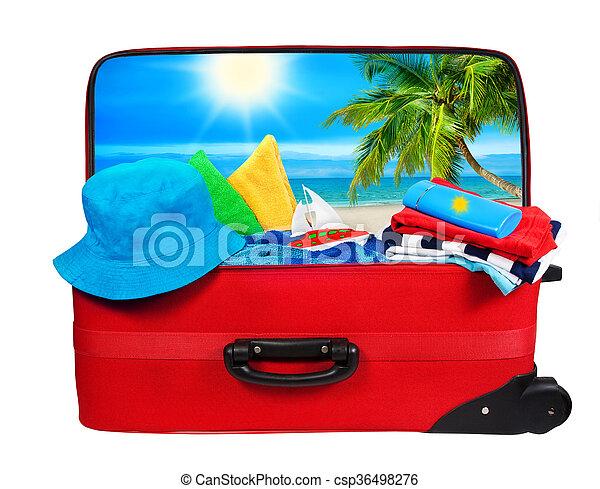 手荷物, 休暇, 袋, スーツケース, 白, 開いた, 旅行, パックされた - csp36498276