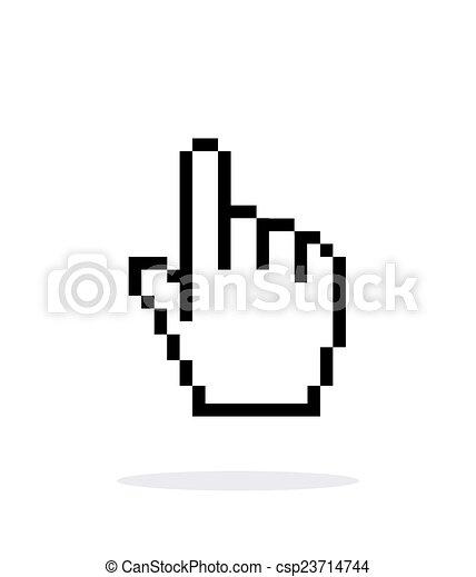 手, カーソル, バックグラウンド。, 白, ピクセル, アイコン - csp23714744