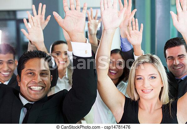 手, グループ, 上げること, ビジネス チーム - csp14781476