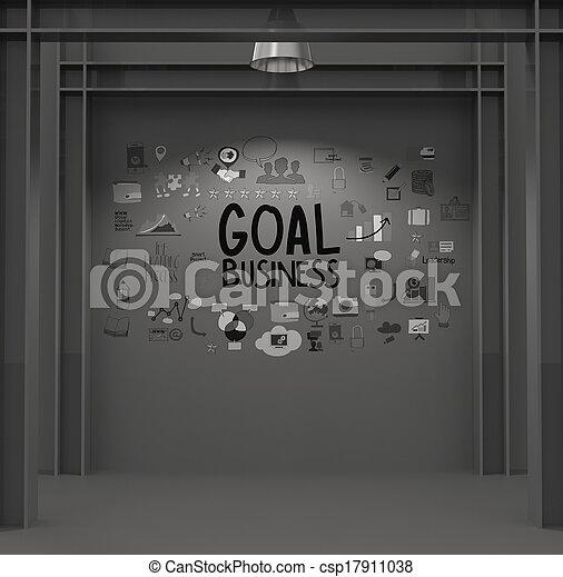 手, ゴール, 作戦, 手ざわり, 背景, 引かれる, 暗い, ビジネス 概念 - csp17911038