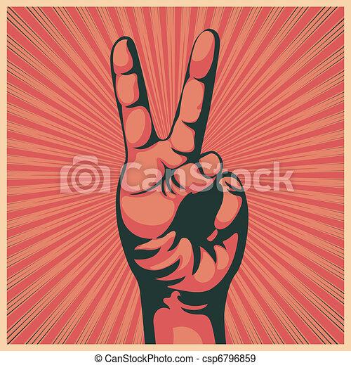 手, 勝利の印 - csp6796859