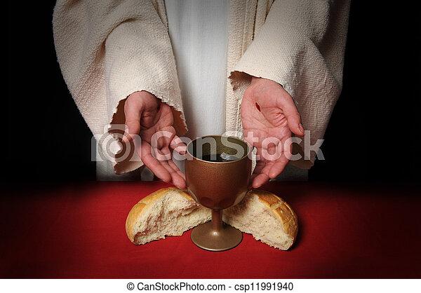手, 聖餐, イエス・キリスト - csp11991940