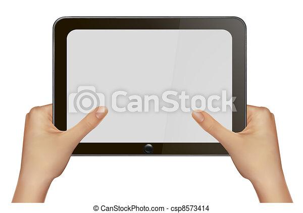 手, pc., 藏品, 片劑, 數字 - csp8573414