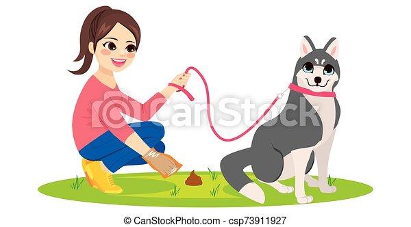 打扫, 狗, 宠物, poo, 妇女 - csp73911927
