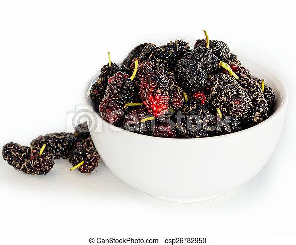打撃, 熟した, mulberries, マクロ, 焦点を合わせなさい。, 精選する - csp26782950