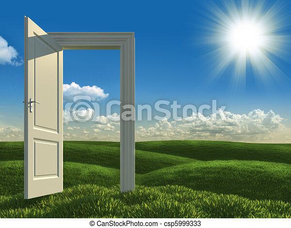打開, 白色, 門, 草地 - csp5999333