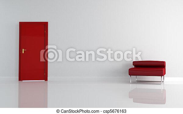 扶手椅子, 現代, 門, 紅色 - csp5676163