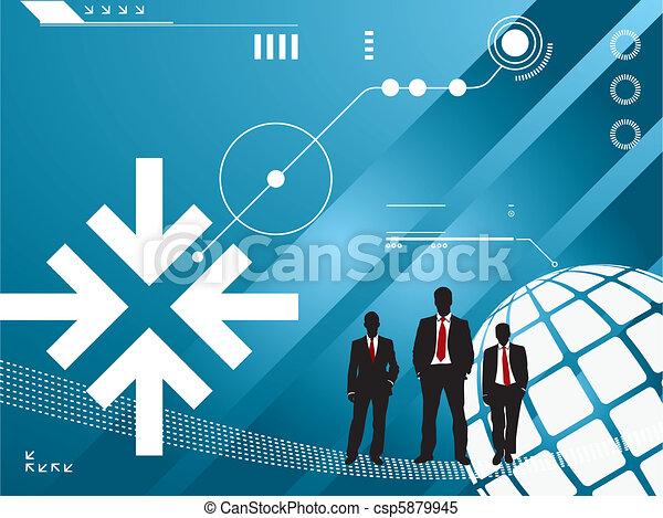 技術, シルエット, ビジネスマン, 背景 - csp5879945