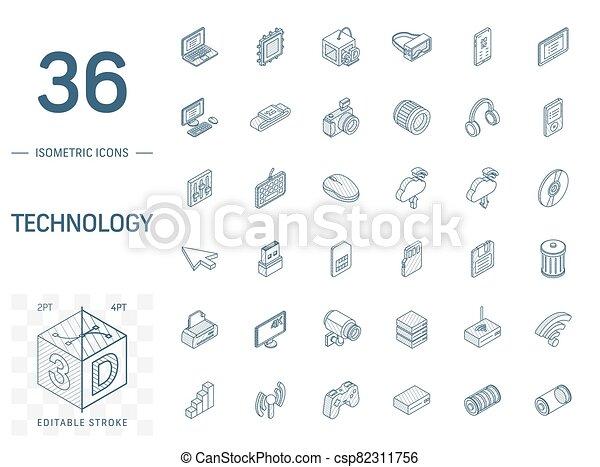 技術, 線, 3d, デジタル, 等大, icons., ベクトル - csp82311756