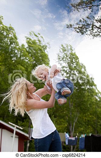 投げる, 息子, 母, 空気 - csp6824214
