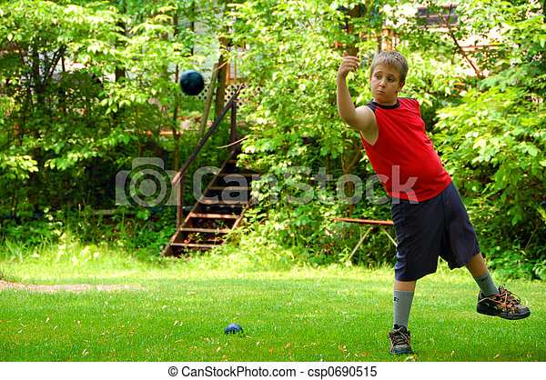 投げる, bocce 球 - csp0690515