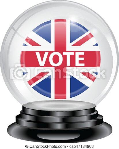 投票, 水晶球, イギリス - csp47134908