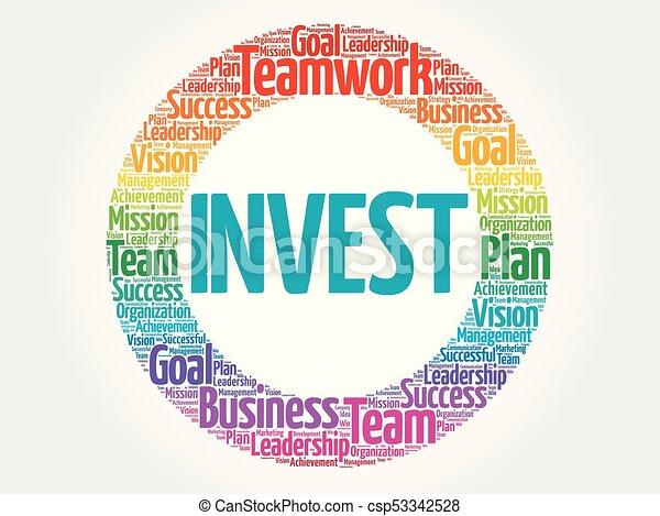 投資しなさい, 円, 単語, 雲 - csp53342528