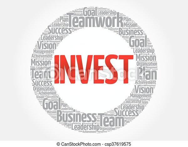 投資しなさい, 円, 単語, 雲 - csp37619575