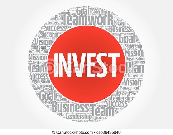 投資しなさい, 円, 単語, 雲 - csp36435846