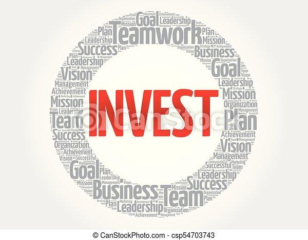 投資しなさい, 円, 単語, 雲 - csp54703743