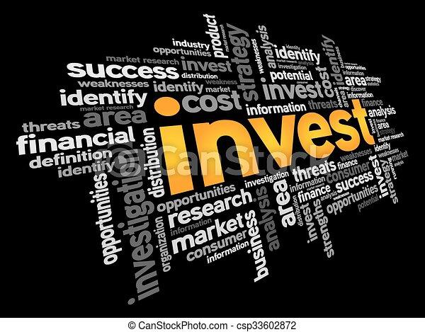 投資しなさい, 単語, 雲 - csp33602872