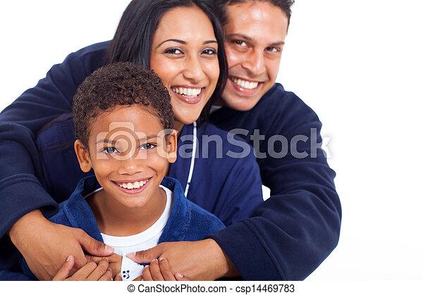 抱き合う, indian, パジャマ, 若い 家族 - csp14469783