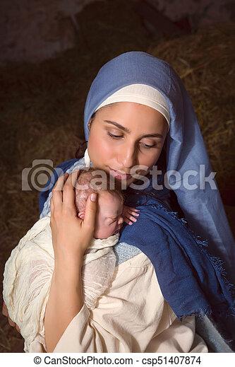 抱き合う, mary, イエス・キリスト, 赤ん坊 - csp51407874