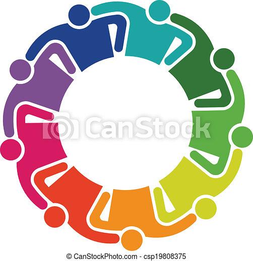 抱擁, グループ, 人々, チームワーク, 9, ロゴ - csp19808375