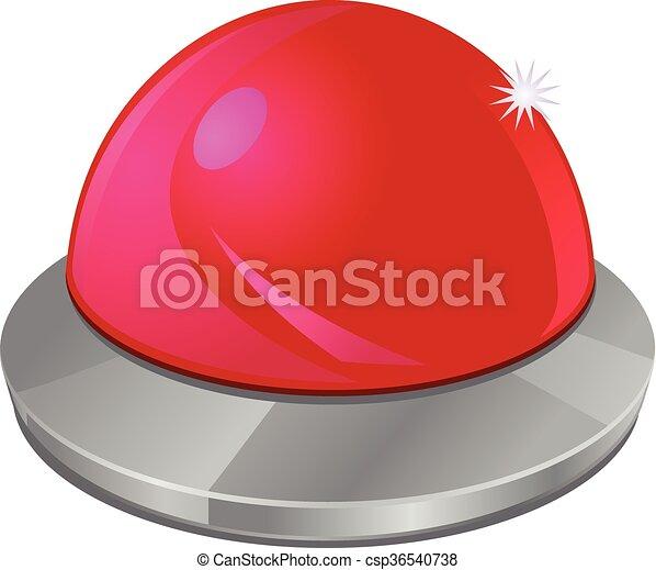 押しボタン, ベクトル, 赤, アイコン - csp36540738