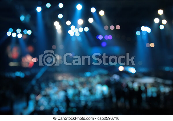 抽象的, コンサート, スポットライト, 焦点がぼけている - csp2596718