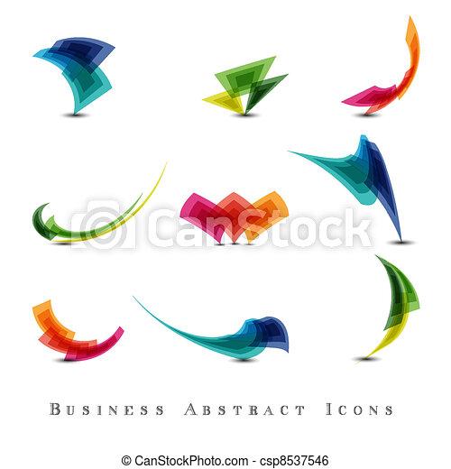 抽象的, セット, ビジネス アイコン - csp8537546