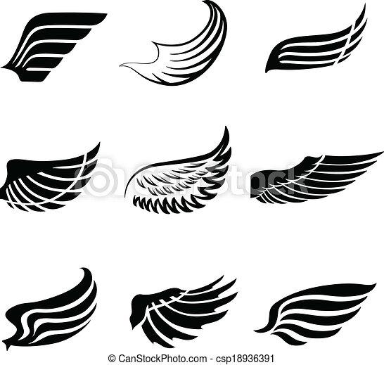 抽象的 セット 羽 翼 アイコン セット 天使 アイコン 抽象的