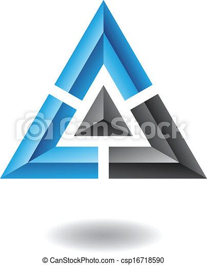 抽象的, ピラミッド, 三角形, アイコン - csp16718590