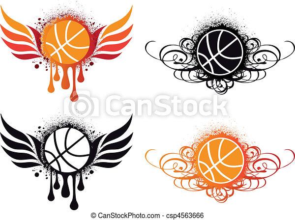抽象的, ベクトル, バスケットボール - csp4563666