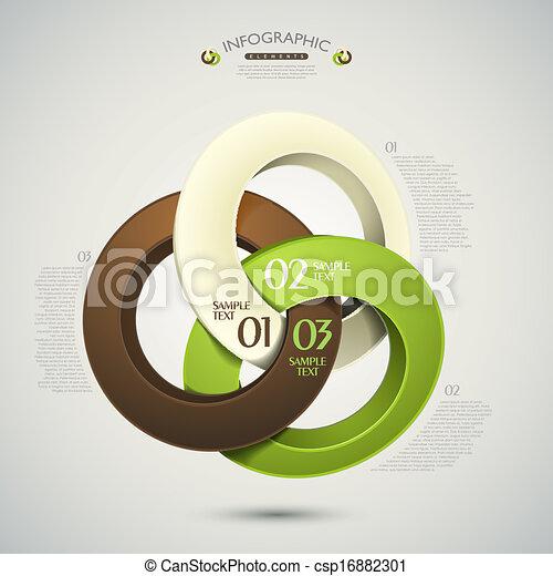 抽象的, ベクトル, リング, 3d, infographics - csp16882301