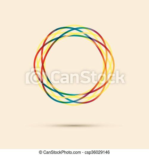 抽象的, 円, 線, 有色人種 - csp36029146