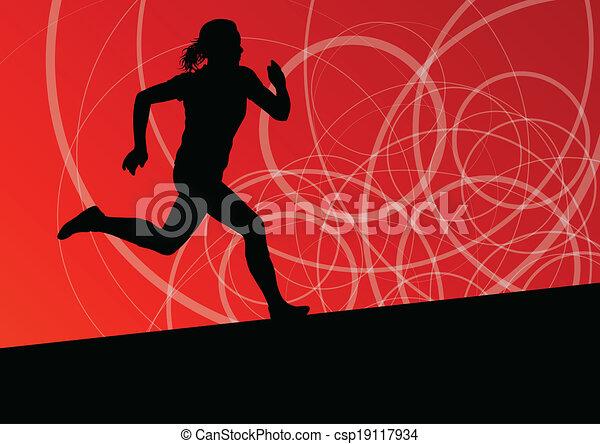 抽象的, 動くこと, イラスト, シルエット, ベクトル, 背景, 活動的, 運動競技, スポーツ, 女性 - csp19117934