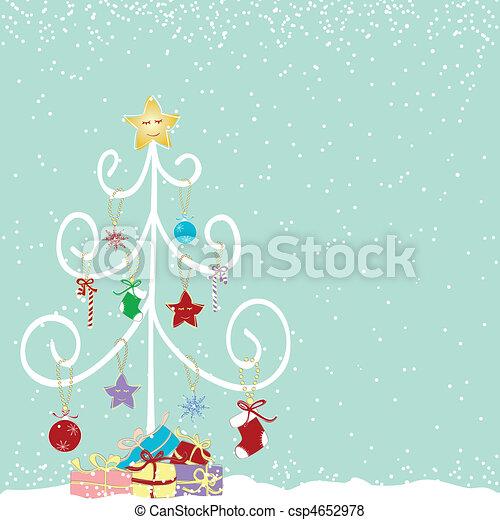 抽象的, 木, クリスマス, カラフルである - csp4652978