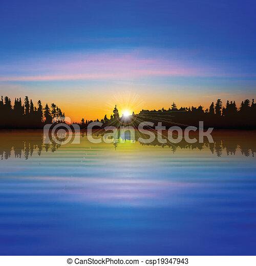 抽象的, 森林, 背景, 湖 - csp19347943