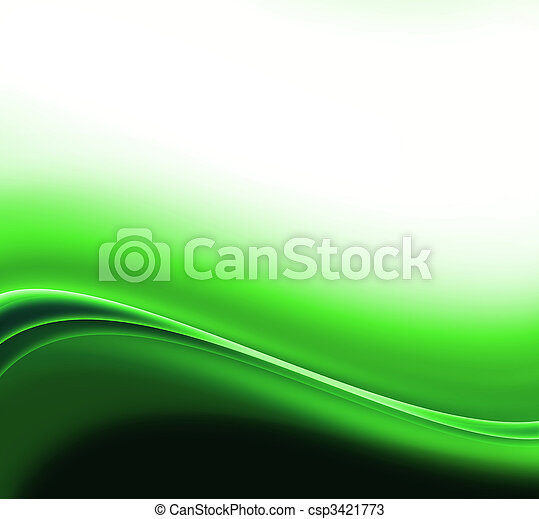 抽象的, 緑の背景, 波 - csp3421773