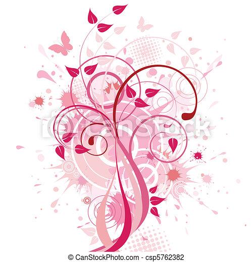抽象的, 背景, ピンク, 花 - csp5762382