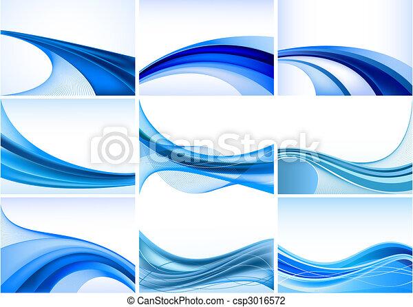 抽象的, 青い背景, セット, ベクトル - csp3016572