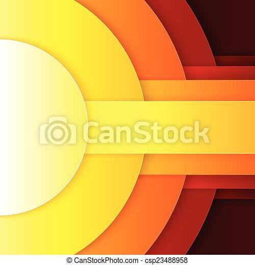 抽象的, 黄色, 形, ペーパー, 背景, オレンジ, ラウンド, 赤 - csp23488958