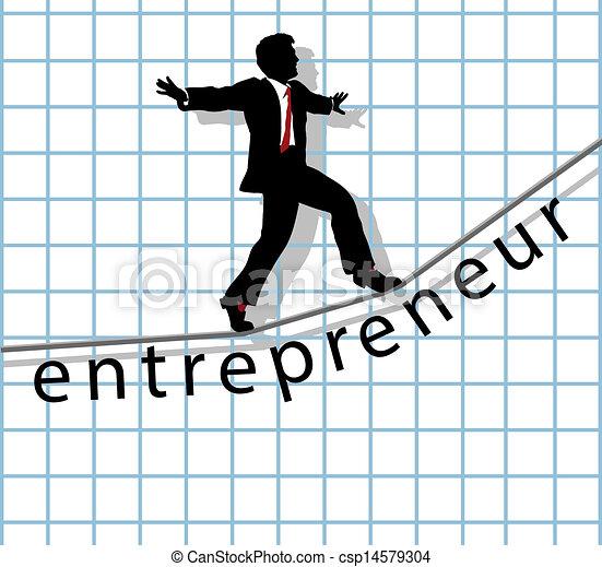 拉緊的繩索, 開動, 成功, 企業家 - csp14579304