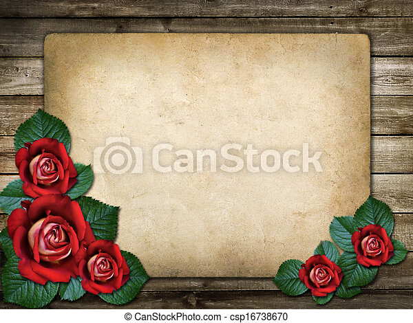 招待, カード, ばら, 赤, ∥あるいは∥, お祝い - csp16738670