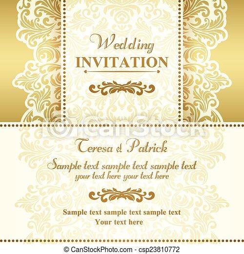 招待, バロック式, ベージュ, 金, 結婚式 - csp23810772