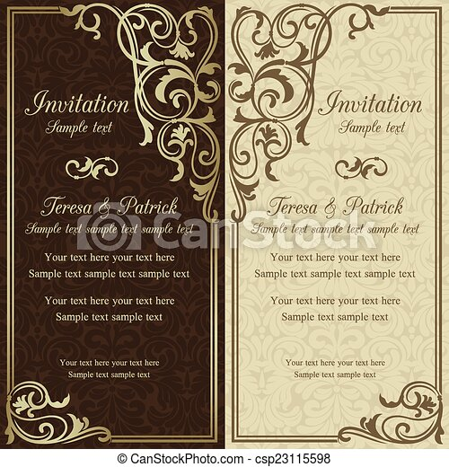 招待, ブラウン, バロック式, 結婚式 - csp23115598