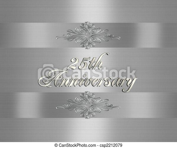 招待, 第25, 結婚式, 銀, 記念日 - csp2212079