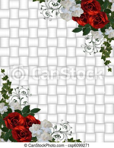 招待, 結婚式, ボーダー, ばら, 赤 - csp6099271