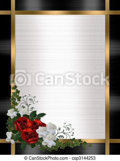 招待, 結婚式, ボーダー, ばら, 赤 - csp3144253