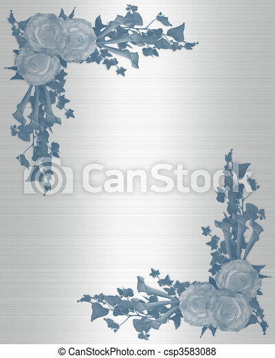 招待, 結婚式, 花, 青 - csp3583088