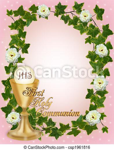 招待, 聖餐, ボーダー, 神聖, 最初に - csp1961816
