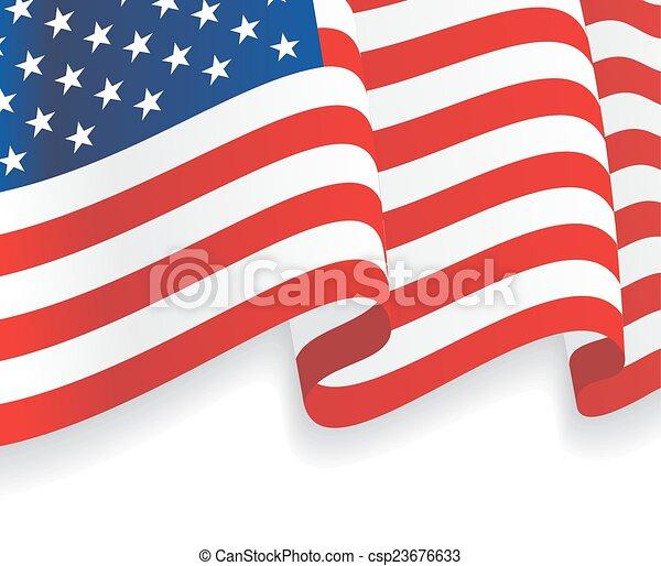 招手, flag., 美國人, 矢量, 背景 - csp23676633