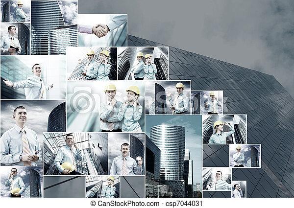 拼貼藝術, 圖像, 事務, 很多 - csp7044031